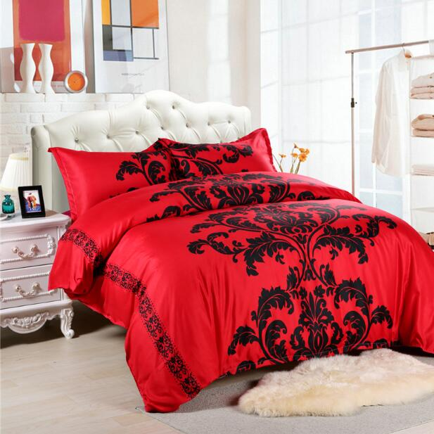 Costbuys  Red/Black/White Duvet Cover King Size Bed Linen Bohemian and Europe Bed Sheet Bedding - Red / King