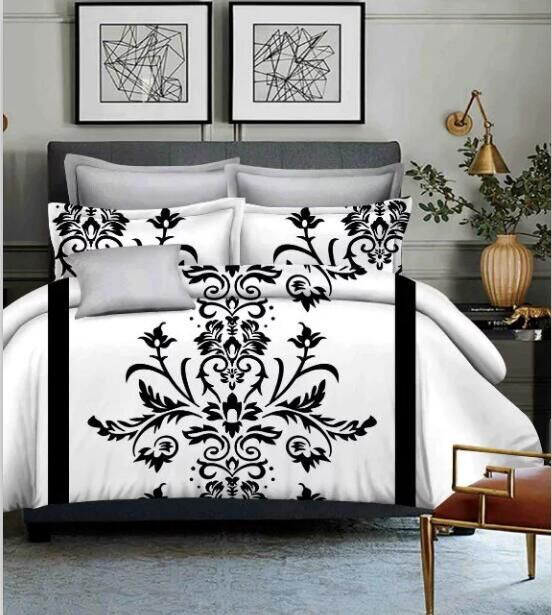 Costbuys  Red/Black/White Duvet Cover King Size Bed Linen Bohemian and Europe Bed Sheet Bedding - White / King
