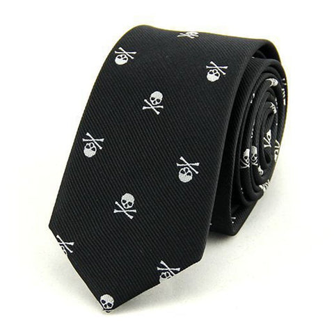 Neck Ties for Men 6cm SKinny Polyester Silk Neckties Skull Print Business Neckwear Corbatas Wedding Suits Gravatas