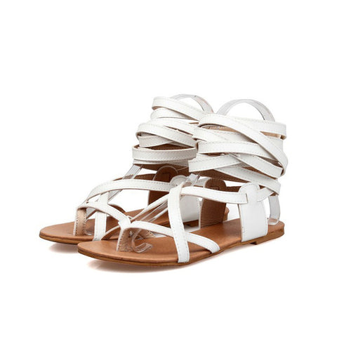 3035697f3 Solid Color Women Gladiator Sandals Flat Heels Summer Shoes Sexy Knee High  Sandals Boots Woman Shoes