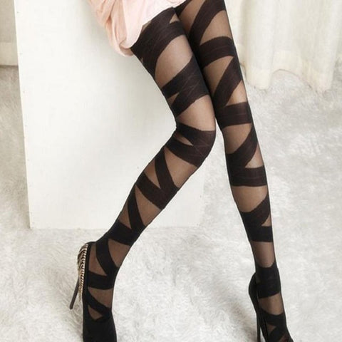 Women Sexy Ripped Cut-out Bandage Ultra-thin Tights Elastic Slim Pantyhose