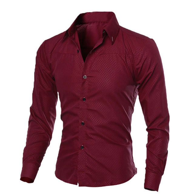 Fashion Man Shirt Fitness Brand New Mens Business Shirts Slim Fit Shirt Casual Long Sleeve Shirts Solid Color