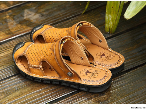 Caltus Handmade Beach Sandals Men Genuine Leather Non-Slip Summer Shoes