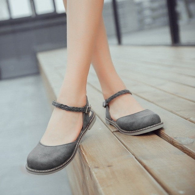 New Fashion Women Buckle Strap Mary Jane Flat Shoes Casual Round Toe S –  Costbuys
