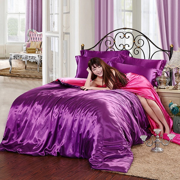 Costbuys  Satin solid coffee white purple bedding set queen size king duvet cover set bedclothes bed sheet set - purple with ros