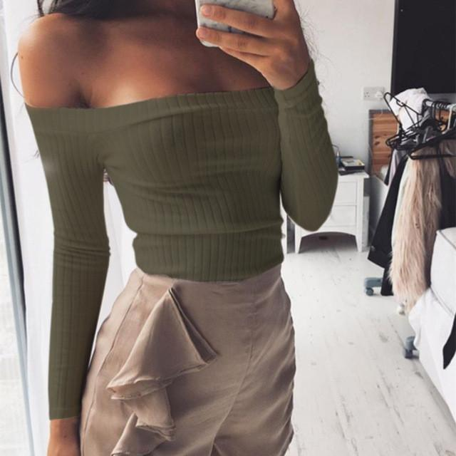 Costbuys  Summer Women Sweaters Sexy Off Shoulder Crop top Sweater Pull Femme Short Casual Slim Pullover Knitted Jumper - Army G
