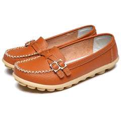 New Summer Women Genuine Leather Shoes Comfortable Buckle Flats Nurse Casual Handmade ballet flats Women