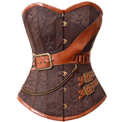 Plus Steampunk Corset Overbust Gothic Women Brown Brocade Corsets And Bustiers Slimming Waist Trainer Bustier
