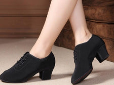 Professional Practice closed toe soft slip sole 5cm leather Ballroom Latin Dance Shoes for women