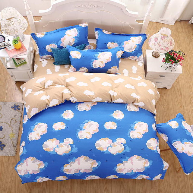 Costbuys  Bedding Sets Long period flowers Polyester Cotton Queen full Bed Linens duvet cover Sheet Sets - A6 / Queen cover 200b