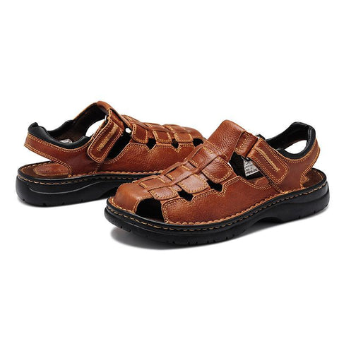 Summer men's casual sandals breathable Comfortable British leather sandals  39-49 plus size 47 48 49