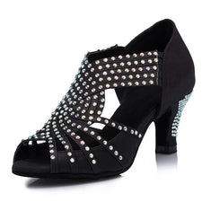 Diamond Black Satin Women's Latin dance shoes Wedding Salsa Tango Party Square dance shoes