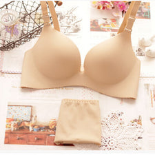 V sexy ultra deep rim gather solid small chest thickness seamless one-piece paragraph girl sexy lingerie bra set