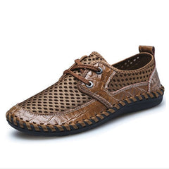 Summer Breathable Mesh Shoes Mens Casual Shoes Genuine Leather Slip On Brand Fashion Summer Shoes Man Soft Comfortable