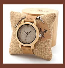 Women Bamboo Wooden Watches Deer Men with Wood Strap Quartz ladies watchTri-Fold Clasp watch gifts emo logo case