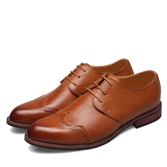 Costbuys  Oxford Shoes For Men Dress Shoes Genuine Leather Office Shoes Men Flats Zapatos Hombre Brown Mens Oxfords - Brown / 7