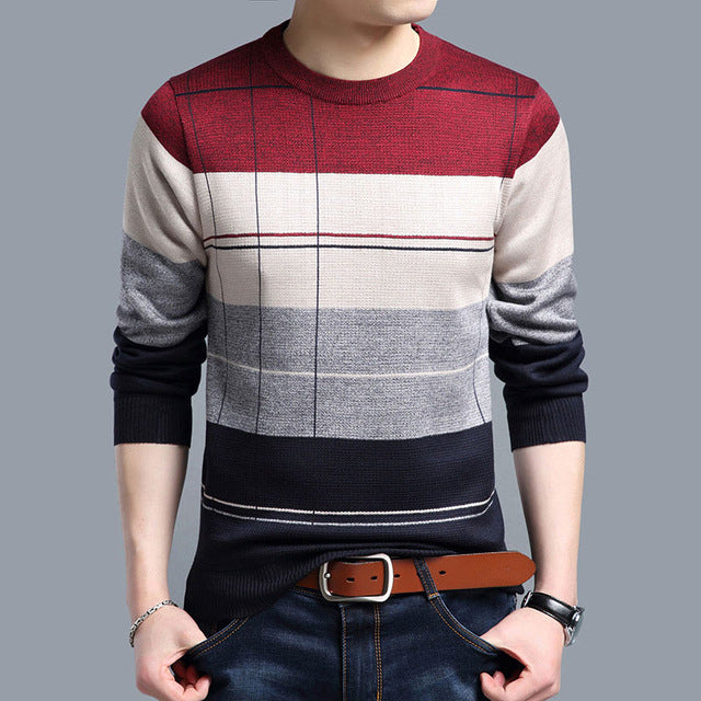 Social cotton thin men's pullover sweaters casual crocheted striped knitted sweater men masculino jersey clothes