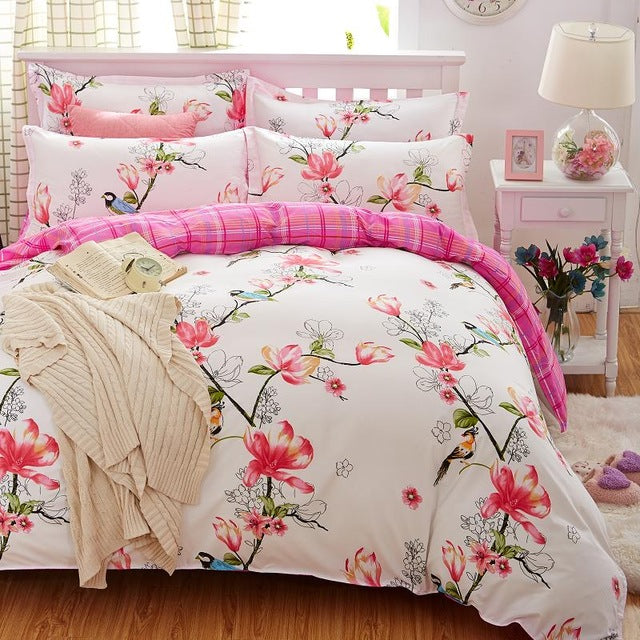 Costbuys  Birds & Blooms bedding set flower bed linens 4pcs/set 5 size duvet cover set Pastoral bed set kids / Adult bedding bed