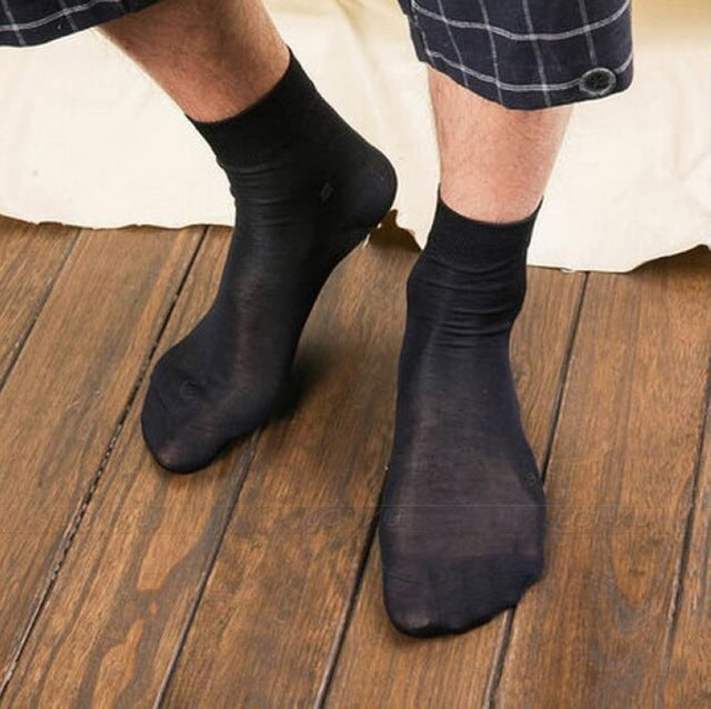 Costbuys  2 Pairs Men 100% Silk Socks Mid Calf Men's a lot Black Socks Solid __ Fits summer spring Autumn Winter - 2Pairs Black