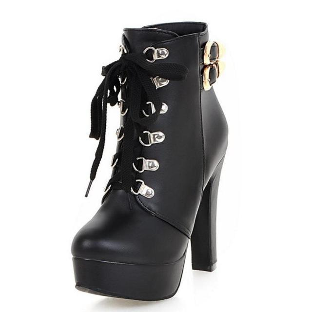 Costbuys  Winter Women Round Toe Ankle Boots High Heels Lace Up Shoes Double Buckle Platform Short Booties - Black / 10