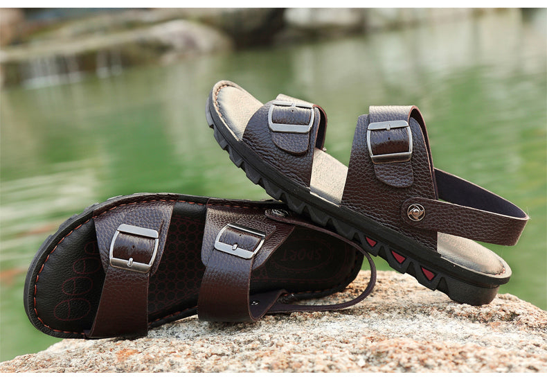 New Large Size Men Sandals Genuine Leather Sandals Two Style Men Slippers Cool Summer Shoes Classics Flats Breathable Shoes