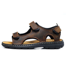 Summer Retro Sandals Men Fashion Cow Leather Sandals Extra wide Hook Loop Beach Shoes