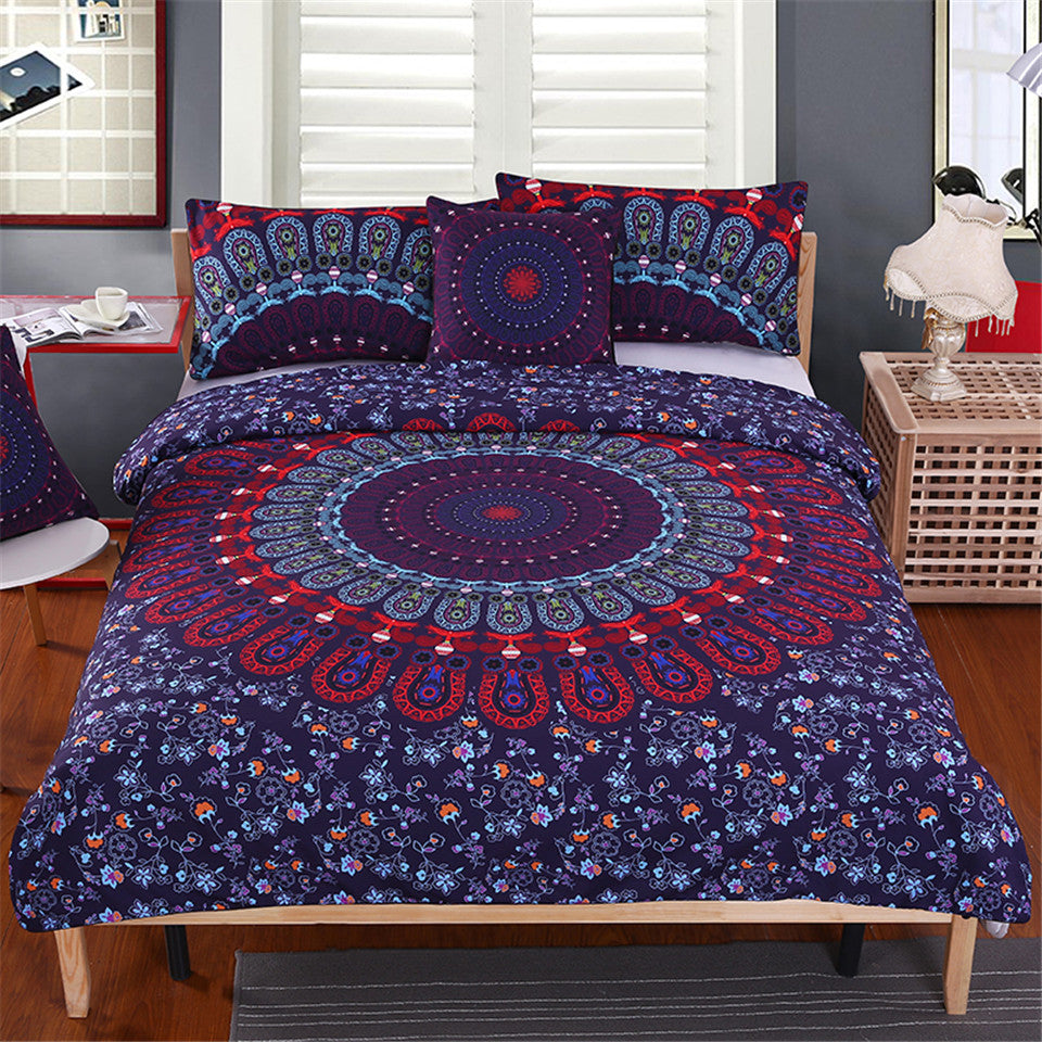 Costbuys  5pcs Bed in a Bag Floral Bedding Set Queen Size Mandala Pattern Duvet Cover Boho Luxury Bed Set - Duvet Cover Set / AU