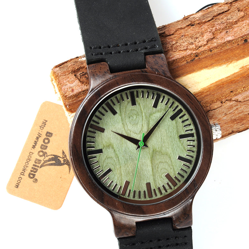 Wooden Watch Green Second Pointer Wood Face Watches for Men