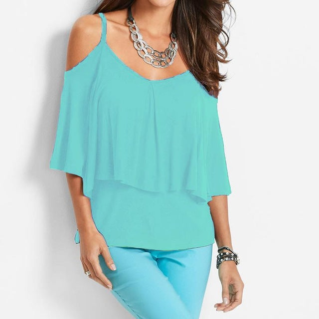 Costbuys  Newest Summer Ladies Blouse Shirt Loose Double Layers Tee Shirts Sexy Strapless Cold Shoulder Solid Blouses Shirt - Li