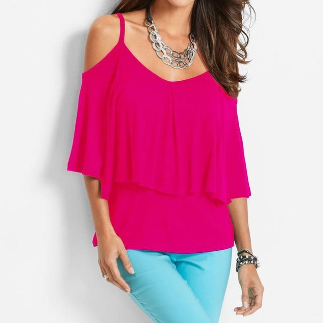 Costbuys  Newest Summer Ladies Blouse Shirt Loose Double Layers Tee Shirts Sexy Strapless Cold Shoulder Solid Blouses Shirt - Re