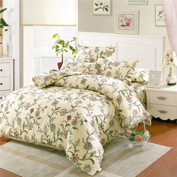 100% Cotton Bedding Sets USA Twin Full Queen King Size White Flowers  Printed Bedsheet Pillowcase