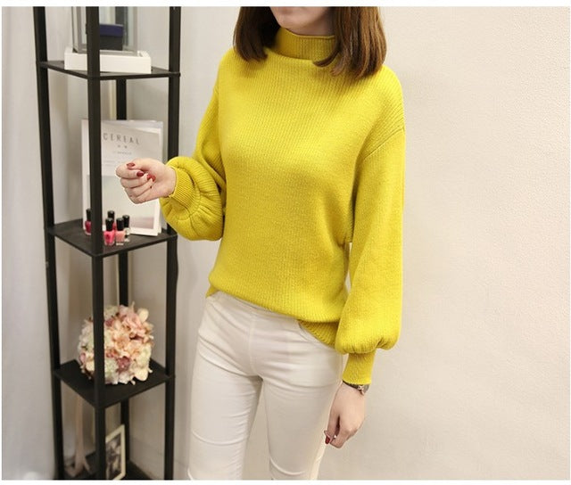 Costbuys  Spring Autumn Collar Women Sweater Loose Bat Lantern Sleeve Solid Color Pullover Sweater - Yellow / One Size