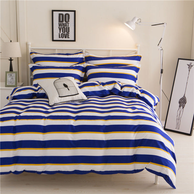 4pcs Double Bedding Set Queen Size King Size With Duvet Cover Bed Sheet  Bedspread Cotton Bed