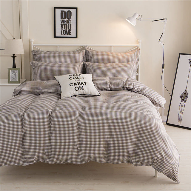 Costbuys  4pcs Double Bedding Set Queen Size King Size with Duvet Cover Bed Sheet Bedspread Cotton Bed Sheets Strip and Plaid Be