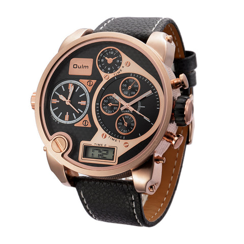 Dual Display Wristwatch Men Luxury Brand Super Big Dial Design Watch Male Casual PU Leather Strap Military Watches