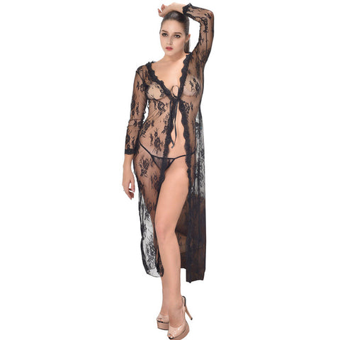 Black Sexy Long Mesh Dressing Night Gown Plus Size Lace Sheer Evening  Nightgown Nightie Sleepwear Lingerie 527540784
