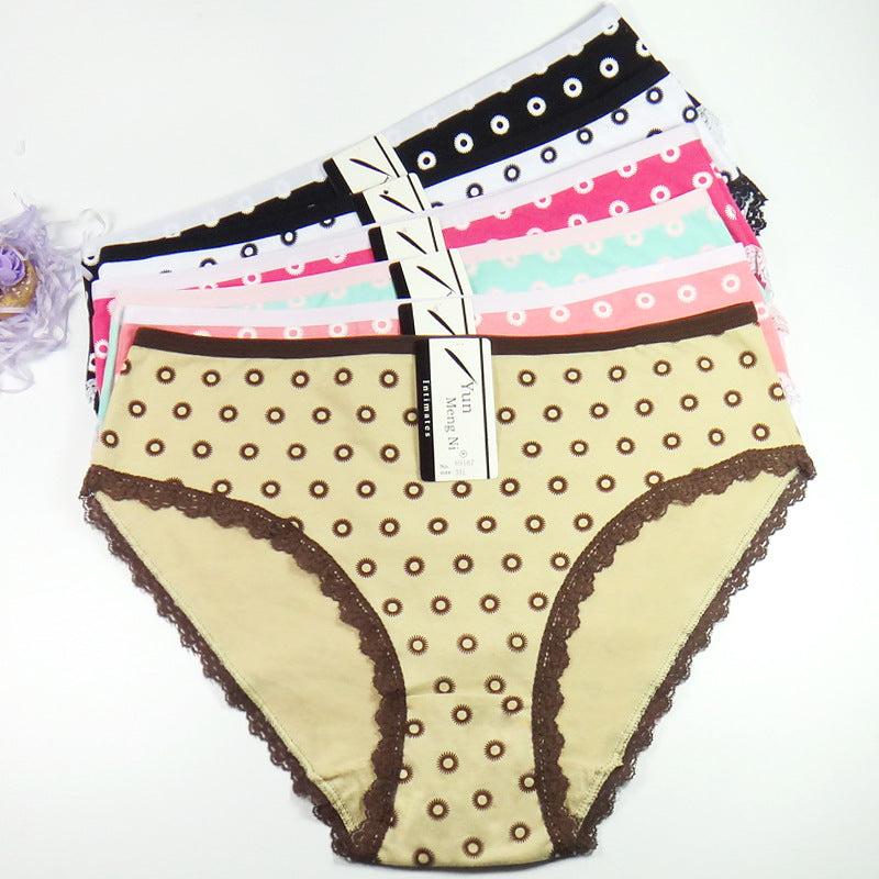 Women's panties underwear waist solid color Women's underwear print big mommy pants