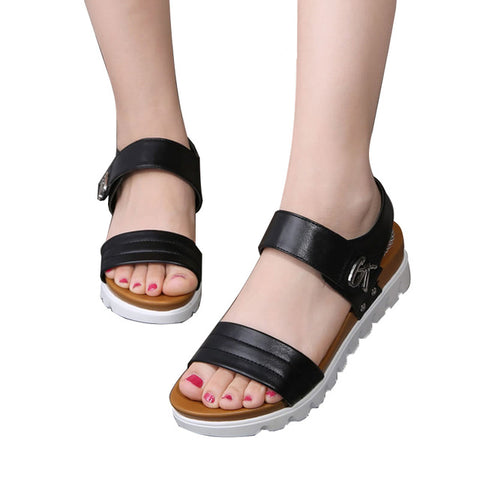 summer shoes flat sandals women aged leather flat with mixed colors fashion sandals comfortable old shoes
