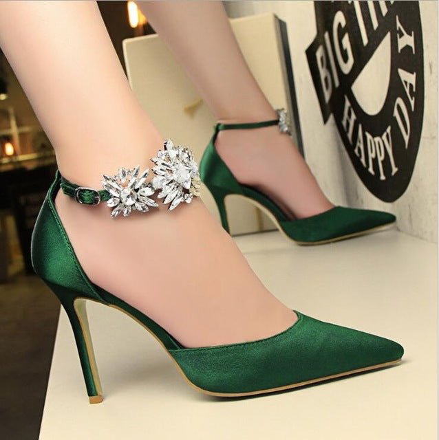 Women Pumps Rhinestones High-heeled Shoes Thin Pink High Heel Shoes Hollow Pointed Stiletto Elegant Wedding shoes