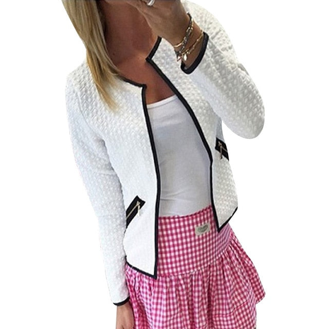 Costbuys  Women Blazer Winter Jacket Short Tops Autumn Winter Zipper Long Sleeve Crew Neck Zipped Suit - White / XXL