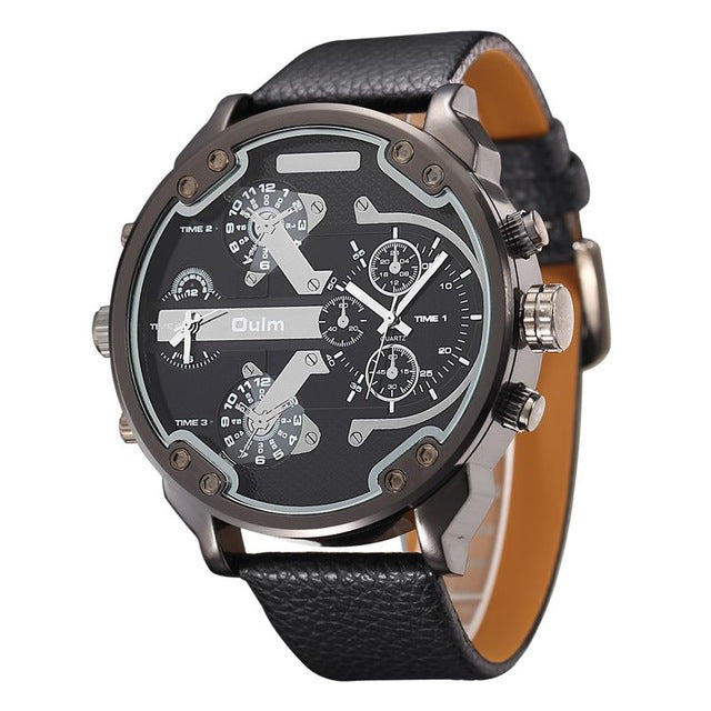 Costbuys  Famous Designer Mens Watches Top Brand Luxury Quartz Watch PU Leather Big Dial Military Quartz Clock relogio masculino