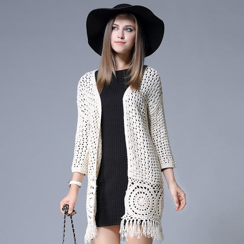 Tassel cardigan Women new autumn knit hollow long cardigans women plus size long hook blusas de inverno casaco cardigan feminino