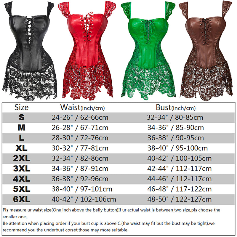 Women's Gothic Steampunk Clothing Corset Bustier Top Sexy Lingerie Leather Lace up Overbust Burlesque Basque Corset Dress