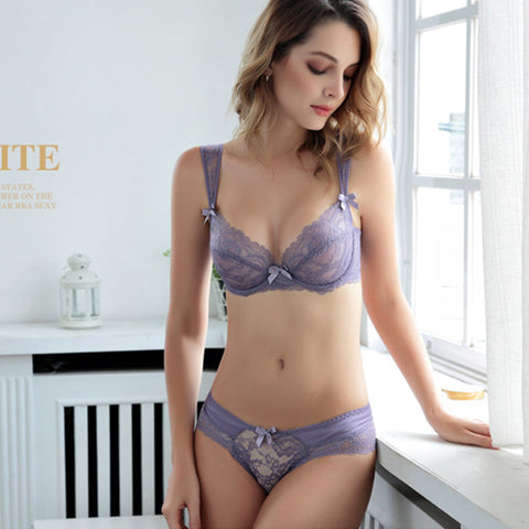 Lace Six rows of front buckle underwear women sexy comfortable breathable  with ultra-thin soft cup bra set