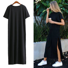 Autumn Basic Side High Slit Long T shirt Women Sex Dress Short Sleeves Black New Fashion Clothing