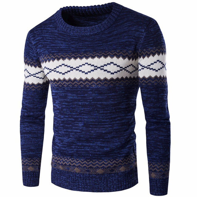 Men Sweater Long Sleeve O-Neck Men Pullover Sweaters Male Diamond Patchwork Knitted Warm Sweaters Winter
