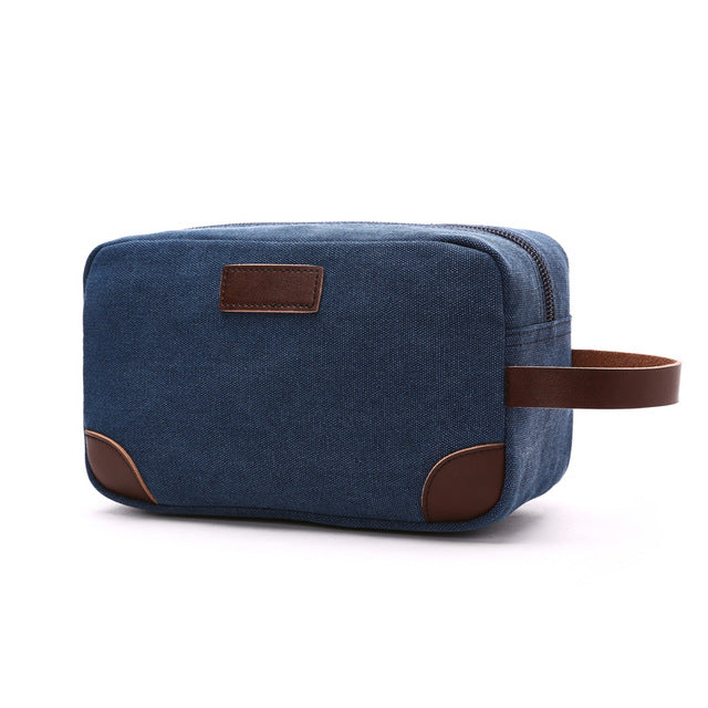 Costbuys  Canvas Ladies Clutch Bag Women's Casual Tote Female PU Hand Bag Evening Clutch Bags School Pen Storage Bag - Drak blue