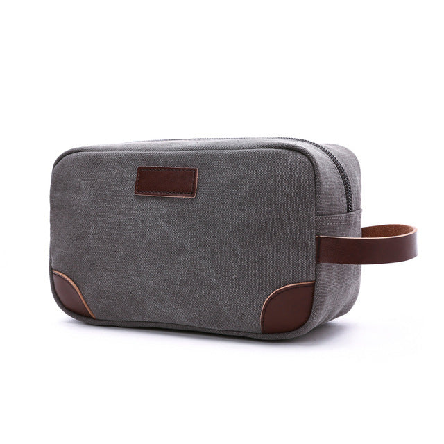 Costbuys  Canvas Ladies Clutch Bag Women's Casual Tote Female PU Hand Bag Evening Clutch Bags School Pen Storage Bag - Gray