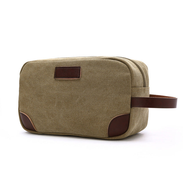 Costbuys  Canvas Ladies Clutch Bag Women's Casual Tote Female PU Hand Bag Evening Clutch Bags School Pen Storage Bag - Khaki