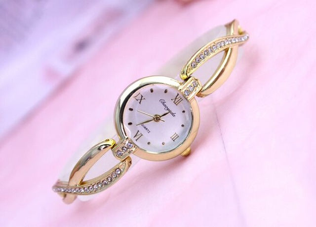 Costbuys  Original Bracelet Watches for Lady Fashion Dress Gold Charming Chain Style Jewelry Quartz Women Watch - gold